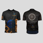 Cyclists black t-shirt design for a sports company